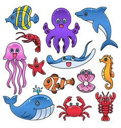 sea creature fish dolphin whale crab clip art vector image