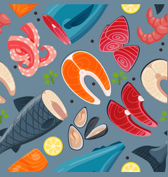 Sea food seamless pattern vector
