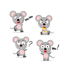 set concept cute mouse and cheese butter vector image