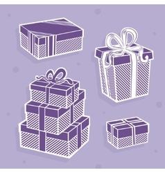 Set gift symbol vector image