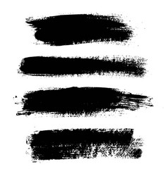 set of black paint ink brush strokes lines vector image