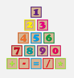 Set wooden cubes with numbers and arithmetic vector