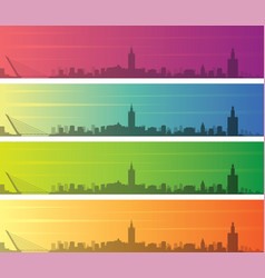 seville multiple color gradient skyline banner vector image