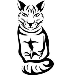 Sitting cat stencil for tattoo vector image