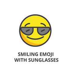 smiling emoji with sunglasses line ico vector image