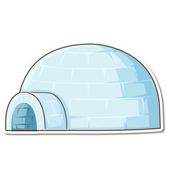 Sticker ice igloo house on white background vector