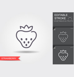 strawberry line icon with shadow vector image