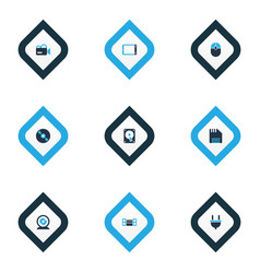technology icons colored set with floppy disk cd vector image