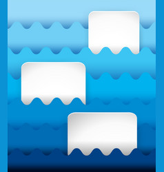 three blank squares on wavy background in blue vector image