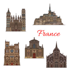 travel landmark france icon for tourism design vector image
