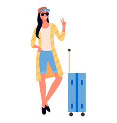 traveling woman with suitcase showing peace sign vector image