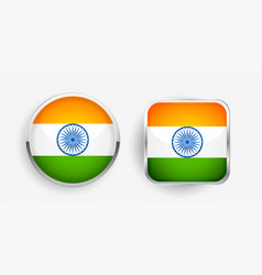 Two indian flag label icons design vector