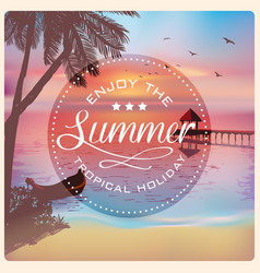 vintage card with a beautiful sunset on a tropical vector image