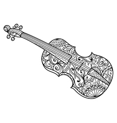Violin coloring book for adults vector