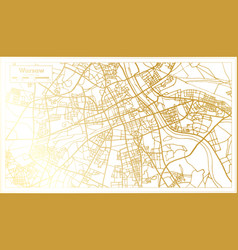 Warsaw poland city map in retro style in golden vector