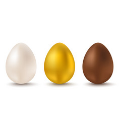 white golden and chocolate eggs for easter vector image