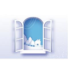 white winter origami landscape and village vector image