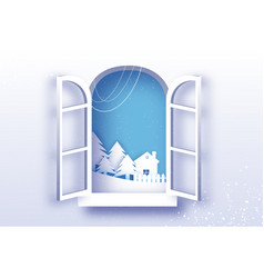 white winter origami landscape and village with vector image