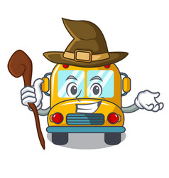 Witch school bus mascot cartoon vector