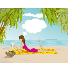 Woman On Beach With Book vector image