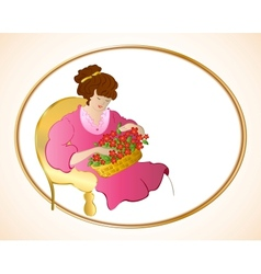Woman on chair with flowers vector