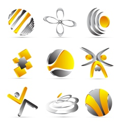 Yellow business icons design vector