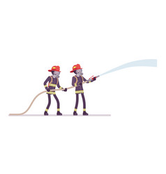 young male firefighters with water hose vector image