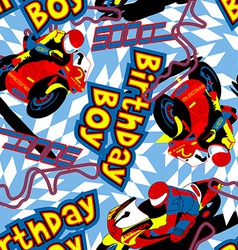 Birthday boy motorbike seamless pattern vector image