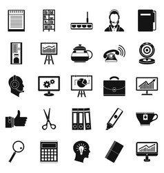 business support icons set simple style vector image