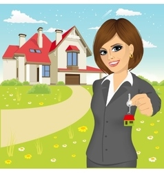 Female real estate agent vector
