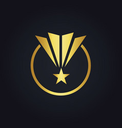 star pride round shape victory gold logo vector image