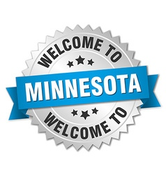Minnesota 3d silver badge with blue ribbon vector