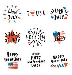 set of fourth july badges vector image