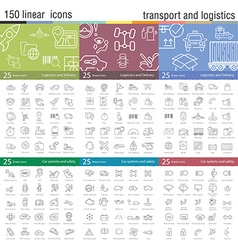 thin line icons set for transportation vector image