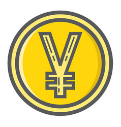 Yen coin filled outline icon business and finance vector