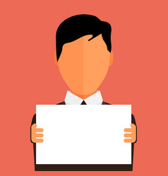 businessman holding blank banner flat design with vector image vector image