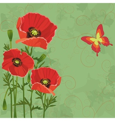 Floral vintage background with poppies vector image vector image