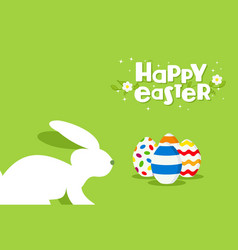 happy easter rabbit and egg design greeting card vector image