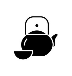 kettle and cup - tea ceremony icon vector image