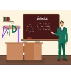 School geometry male teacher in audience class vector image