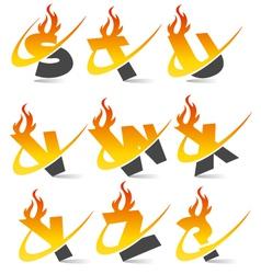 Swoosh Flame Alphabet Logo Set 3 vector image