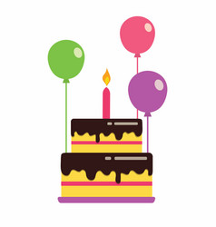 cake with balloons vector image