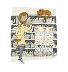 Girl and cat meeting in a library hand drawn vector