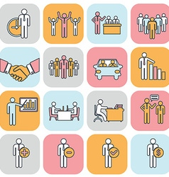 Human resources and management thin line icons set vector image