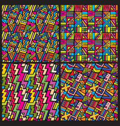 multicolor tribal african seamless patterns vector image vector image