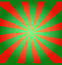 red and green sunburst background vector image vector image