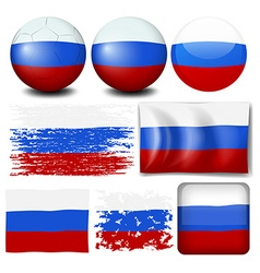 Russia flag on different items vector image vector image