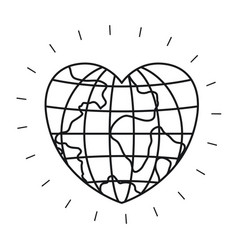 silhouette front view globe earth world in heart vector image