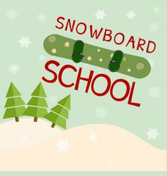 snowboard school logo template vector image vector image