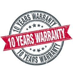 10 years warranty red round grunge vintage ribbon vector image